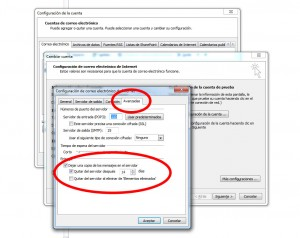 Configurar Outlook para no saturar el servidor. Paso 4