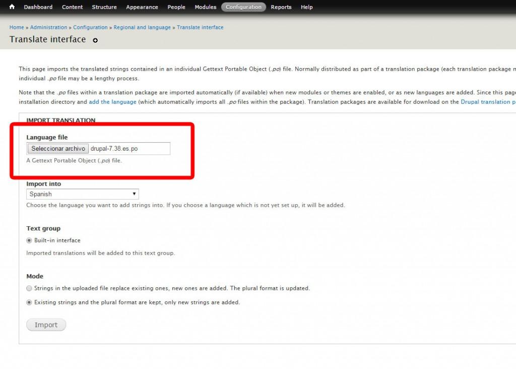 Seleccionar fichero de traducción