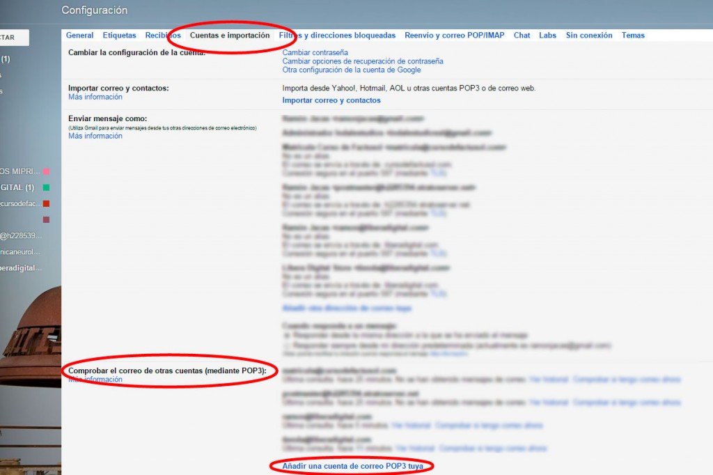 Comprobar correo POP3 Gmail